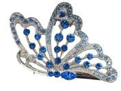 Blue Rhinestone Crystal Butterfly Big Hair Claw F200