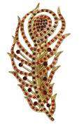 Red Rhinestone Crystal Peacock Feather Barrette E79