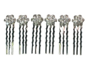 6 Of Clear Floral Hair Combs For Bridesmaid Flower Girl Wedding Party L85