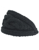Dahlia Women's Wide Cable Knit Headband - Solid Colour - Black