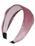 Dahlia Women's Wide Plain Headband - Solid Colour Velvet - Pink