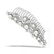 Bling Jewellery Simulated Pearl and Rhinestone Bridal Tiara Comb Rhodium Plated