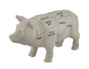 White Ceramic Pig Shaped Coin Bank Butcher Chart Piggy Bank 10cm .