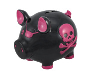 Black Pirate Pig Pink Skull Crossbones Piggy Bank