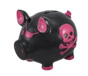 Black Pirate Pig Pink Skull Crossbones Piggy Bank