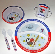 Mustard Seeds 133595 Mealtime Set All Things Are Possible All Star Blue