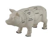 White Ceramic Pig Shaped Coin Bank Butcher Chart Piggy Bank 15cm .