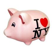 I Love NY Small Pink Ceramic Piggy Bank