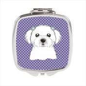 Purple Chequered Maltese Compact Mirror BB1134SCM