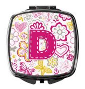 Letter D Flowers and Butterflies Pink Compact Mirror CJ2005-DSCM