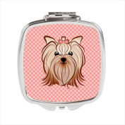 Pink Chequered Yorkie / Yorkshire Terrier Compact Mirror BB1138SCM