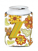 Letter Z Floral Mustard and Green Can or Bottle Hugger CJ2003-ZCC