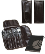 7 Piece Brown Travel Cosmetic Beauty Set Roll Up Case with Snap and Bonus Drawstring Bag