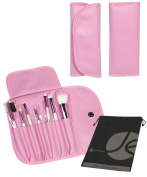 7 Piece Pink Travel Cosmetic Beauty Set Roll Up Case with Snap and Bonus Drawstring Bag
