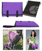 JAVOedge Purple Fabric Fold up Clip On Stoller Attachement Bag / Nappy Bag with Extra Pockets