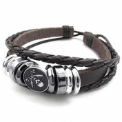 Fun Daisy Mendino Mens Tribal Charms Wrap Pirate Skull Woven Braided Leather Bracelets
