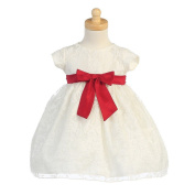 Lito Ivory Organza Burnout Red Bow Baby Girl Christmas Dress 12M
