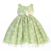 Lito Baby Girls Apple Green Flocked Tulle Special Occasion Easter Dress 18-24M