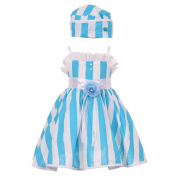 Baby Girls Turquoise White Vertical Stripe Ruffle Detail Easter Hat Dress 12M