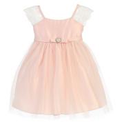 Sweet Kids Baby Girls Petal Pink Lace Sleeve Pearl Broach Easter Dress 18M