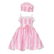 Baby Girls Pink White Vertical Stripe Ruffle Detail Easter Hat Dress 12M