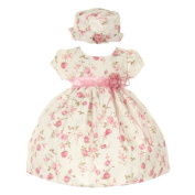 Baby Girls Pink Jacquard Floral Printed Satin Rosette Sash Easter Dress 18M