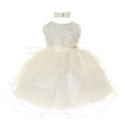 Baby Girls Ivory Organza Rhine studs Bow Sash Flower Girl Dress 18M