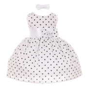 Baby Girls Navy Polka Dot Headband Special Occasion Dress 18M