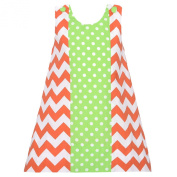 Baby Girls 18M Orange Chevron Green Dot Fall Jumper Dress