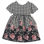 Sweet Kids Baby Girls Rose Print Houndstooth Jacquard Christmas Dress 6-9M