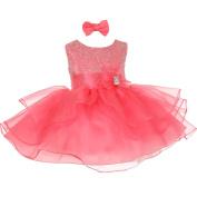 Baby Girls Coral Rhinestuds Bow Sash Flower Girl Headband Dress 3M