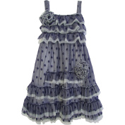 Isobella & Chloe Baby Girls Navy Polka Dots Ruffle Flower Party Dress 18M