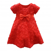 Baby Girls Red Rosette Embellishment Bow Accented Christmas Dress 24M