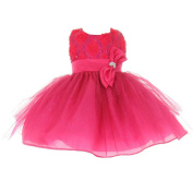 Baby Girls Fuchsia Sequins Bow Sash Tulle Special Occasion Dress 24M