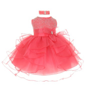 Baby Girls Coral Organza Rhine studs Bow Sash Flower Girl Dress 24M