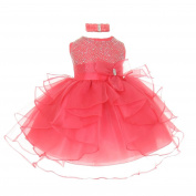 Baby Girls Coral Organza Rhine studs Bow Sash Flower Girl Dress 24M