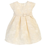 Sweet Kids Baby Girls Ivory Raised Daisy Jacquard Bow Easter Dress 12M