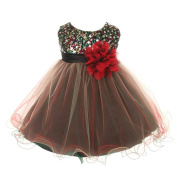 Kids Dream Baby Girls Red Multi Sequin Tulle Special Occasion Dress 12M