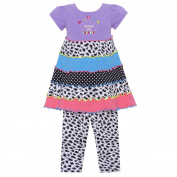 Allison Ann Baby Girls Purple Leopard Spot Dot Birthday 2Pc Legging Set 24M