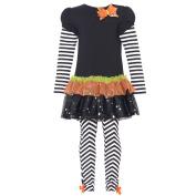 Rare Editions Black Orange Floral Tutu Striped Legging Baby Girl Outfit 12M