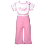 Mon Cheri Baby Girl 3-6M White Pink Cutie Pie Bow 3 Pc Layette Bib Set