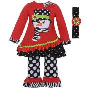 Rare Editions Baby Girls Red Snowman Applique Tunic Headband Legging Set 12M