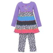 Allison Ann Baby Girls Purple Mixed Print Birthday 2Pc Legging Set 24M