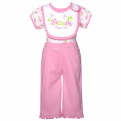 Mon Cheri Baby Girl 6-9M Pink Lady Snuggle Bug 3 Pc Layette Bib Set