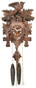 River City Clocks One Day Hand-Carved Cuckoo Clock with Five Maple Leaves & One Bird - 23cm Tall - Model # 11-09
