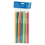 100 x Jumbo Straws Flexible Necks Multicoloured Drinking Milkshakes Parties