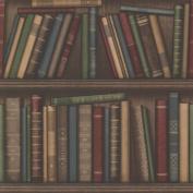 Brewster 2604-21229 Atheneum Burgundy Antique Books Wallpaper