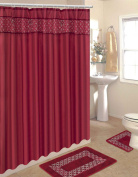 Home Dynamix HE15SI-248 Home Design Polyester 15-Piece Bathroom Set, Burgundy/Beige