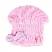 uxcell® Women Bowknot Hair Drying Towel Cap Head Wrap Absorbent Dry Hair Cap