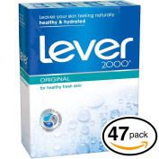 (PACK OF 47 BARS) Lever 2000 ORIGINAL SCENT Bar Soap for Men & Women. NON-DRYING! Great for Healthy Feeling Hands, Face & Body!
